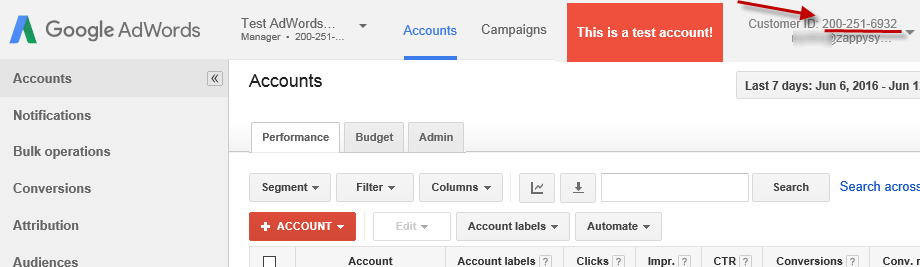 AdWords Client ID number