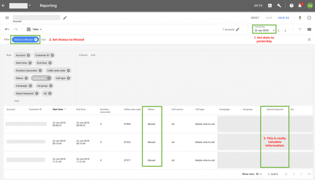 missed call report in AdWords