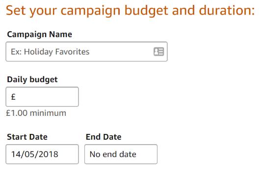 Amazon campaign budget