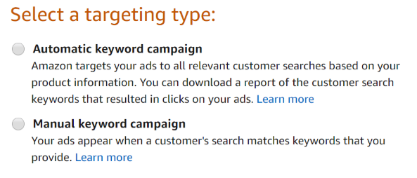 Amazon sponsored ads targeting type